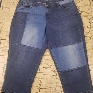 Lane Bryant Patchwork Denim Capris Blue Jeans 20